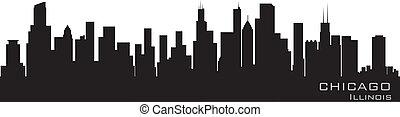 détaillé, chicago, illinois, vecteur, skyline., silhouette