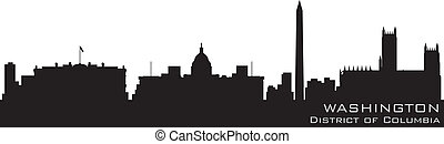 détaillé, colombie, district, vecteur, washington, skyline., silhouette