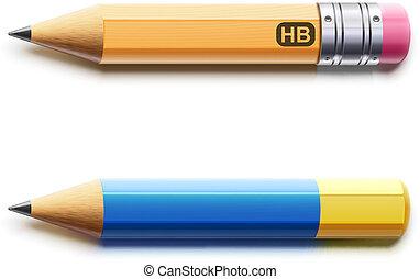 détaillé, deux, aiguisé, crayons