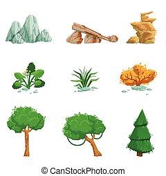 détaillé, ensemble, naturel, icônes, éléments, paysage