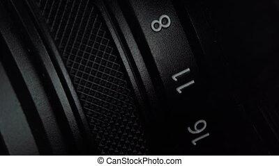détaillé, equipment., extrêmement, appareil-photo., professionnel, photographie, mirrorless, regarder, ouverture, chambre photographique, ou, fin, haut., vendange, monture, rotation, dslr, macro, vieux, changer, ring., foyer