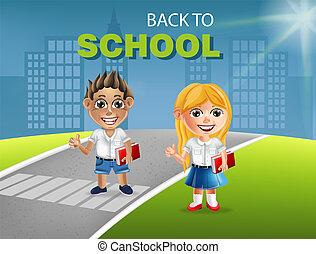 détaillé, garçon, école, caractère, peu, vector., illustrations, girl, dessin animé, heureux