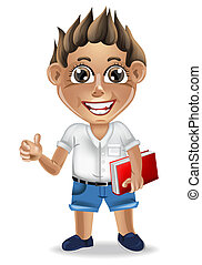 détaillé, garçon, école, mignon, caractère, illustration, vector., dessin animé, heureux