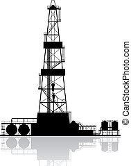 détaillé, huile, isolé, illustration, silhouette., arrière-plan., vecteur, derrick, blanc