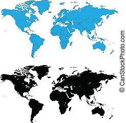détaillé, mondiale, vecteur, cartes
