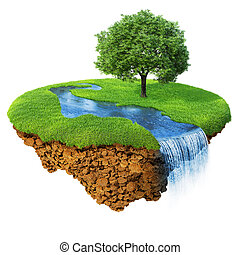 détaillé, paysage., lifestyle., concept, naturel, reussite, serie, isolated., île, idyllique, pelouse, fantaisie, une, rivière, bonheur, écologique, arbre., base., chute eau, air, terrestre