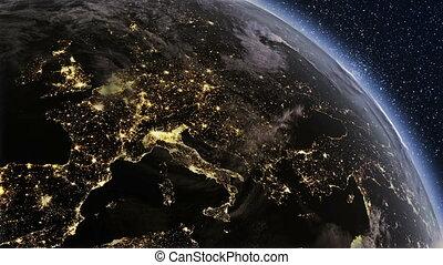 détaillé, planète, hautement, europe, la terre