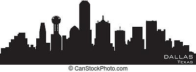 détaillé, silhouette, dallas, vecteur, skyline., texas