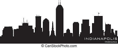 détaillé, silhouette, indianapolis, vecteur, skyline., indiana