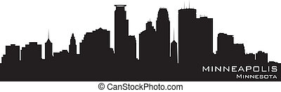 détaillé, silhouette, minnesota, minneapolis, vecteur, skyline.
