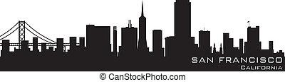 détaillé, silhouette, san, vecteur, californie, francisco, skyline.