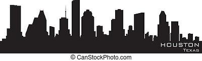 détaillé, silhouette, vecteur, houston, skyline., texas