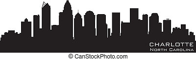 détaillé, silhouette, vecteur, nord, skyline., charlotte, caroline