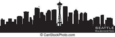 détaillé, silhouette, washington, seattle, vecteur, skyline.