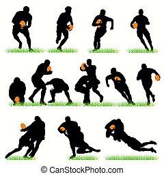 détaillé, silhouettes, ensemble, rugby