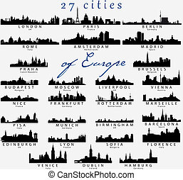 détaillé, silhouettes, villes, européen
