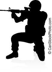 détaillé, soldat, élevé, silhouette, qualité