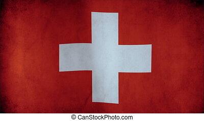 détaillé, tissu, -, seamless, texture, hautement, onduler, faire boucle, drapeau, suisse, vent