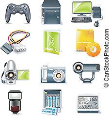 détaillé, vecteur, parties ordinateur, icône