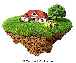 détaillé, vie, concept, reussite, lifestyle., isolated., île, idyllique, arbre, pelouse, maison, sports, bonheur, écologique, dream., voiture., fantaisie, base., air, terrestre
