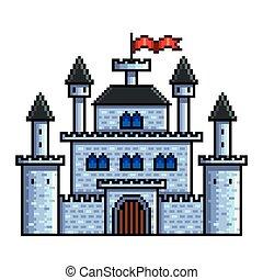détaillé, vieux, isolé, illustration, vecteur, château, pixel