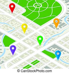 détaillé, ville, isométrique, carte, epingles, vue, coloré, gps
