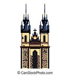 détaillé, ville, tyn, prague, isolé, illustration, symbole, vecteur, église, pixel