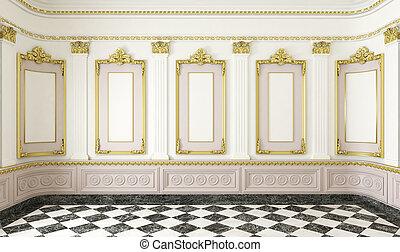 détails, doré, style, salle, classique