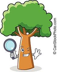 détective, arbre, style, caractère, dessin animé