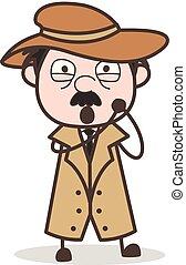 détective, caractère, vecteur, innocent, expression, dessin animé