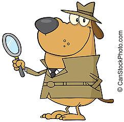 détective, chien, heureux