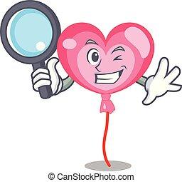 détective, coeur, caractère, dessin animé, ballon