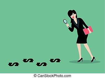 détective, conclusion, affaires femme, argent
