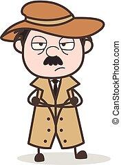 détective, dessin animé, malheureux, figure