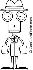 détective, dessin animé, surpris, robot