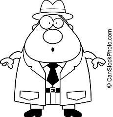 détective, dessin animé, surpris