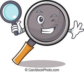 détective, friture, caractère, dessin animé, moule