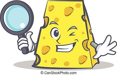 détective, fromage, style, caractère, dessin animé
