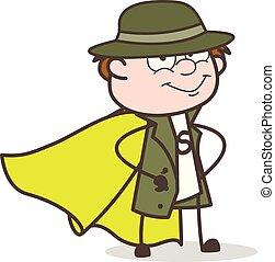 détective, héros, caractère, illustration, vecteur, super, dessin animé