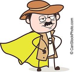 détective, héros, caractère, vecteur, super, dessin animé