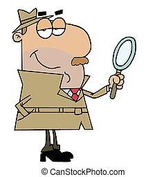 détective, hispanique, dessin animé, homme