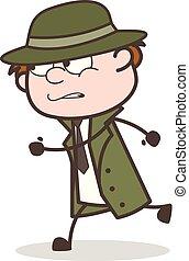 détective, illustration, courant, vecteur, prise, criminel, dessin animé