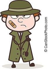 détective, illustration, figure, vecteur, bandage, dessin animé