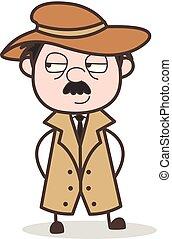 détective, malheureux, vecteur, illustration, expression, dessin animé