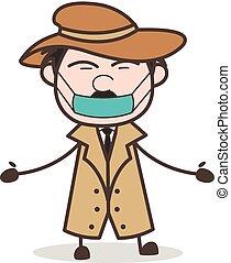détective, masque, illustration, figure, vecteur, dessin animé, pollution