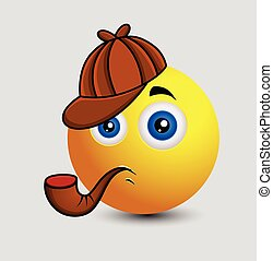 détective, mignon, caractère, emoji