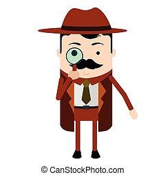 détective, mignon, caractère, isolé, dessin animé