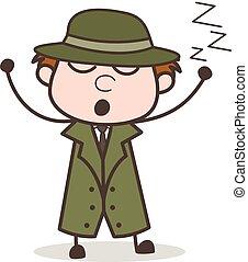 détective, paresseux, illustration, dormir, vecteur, dessin animé