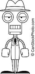 détective, percé, dessin animé, robot