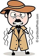 détective, police, -, agent, tremblement, vecteur, illustration, dessin animé, retro